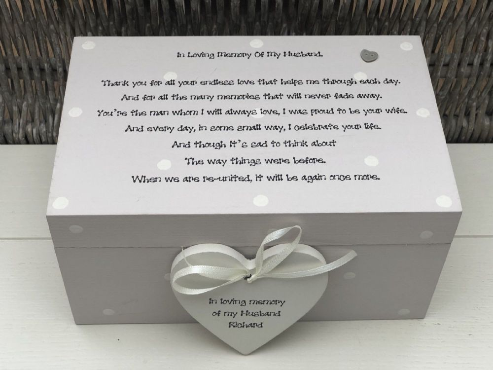 Personalised Large Memory Box Loved One Husband Any Name Bereavement